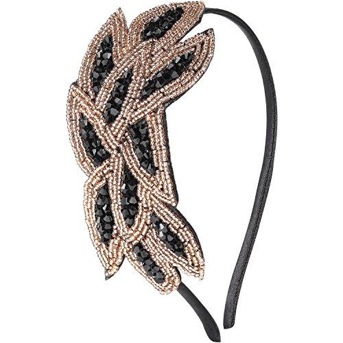 ArtiDeco 1920s Stirnband Damen Haarreif Gatsby Kostüm Accessoires 20er Jahre Flapper Haarband (Gold Schwarz)