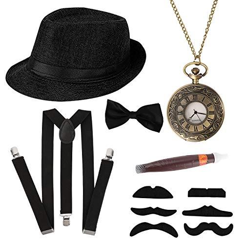 HOWAF 1920s Herren Accessoires, 20er Jahre Gangster Kostüm Rockabilly Mafia Gatsby kostüm Zubehör Set mit Elastisch...