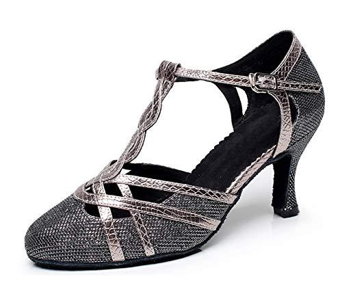 MINITOO QJ6231 Damen Tanzschuhe mit Farbblock, Satin, Lateinamerikanische Salsa-Tanzschuhe, Grau - grau - Größe: 39 EU