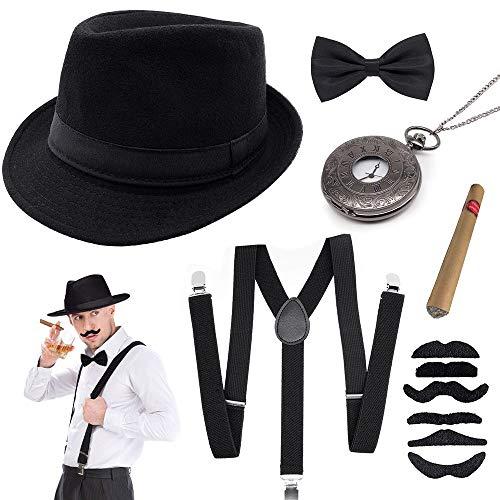 specool 1920s Jahre Herren Accessoires, 20er Gangster Kostüm Rockabilly Mafia Gatsby Flapper kostüm Zubehör Set mit...