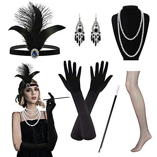 Riclahor 20er Jahre Kleid Accessoires Audrey Hepburn Kostüm Damen Flapper Kleid Retro Stil, Charlston Kostüme Damen,...