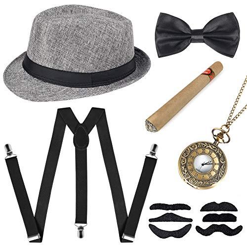 Sinoeem 1920s Herren Accessoires Inklusive Panama Gangster Hut Verstellbar Elastisch Hosenträger Herren Halsschleife...