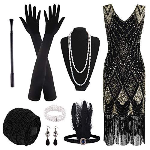 PLULON 1920er Jahre Paillette Perlen Gesäumt Flapper Kleid mit 20er Jahre Zubehörset (Black and Gold, XLarge)