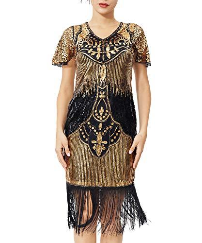 Geplaimir 20er Jahre Kleider Damen Flapper Dress Charleston Kleider V Ausschnitt The Great Gatsby Motto Party Fasching...