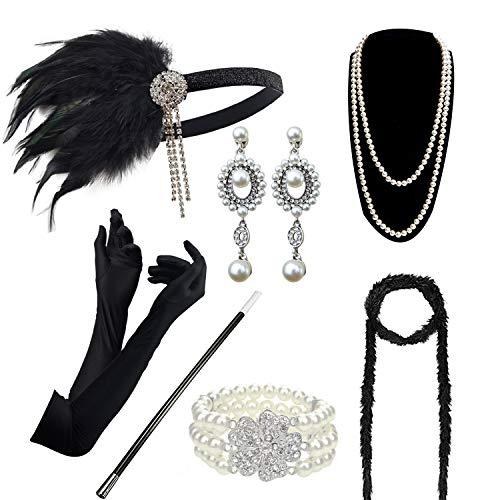 DRESHOW Damen 1920er Accessoires Set Flapper Kostüm Gatsby Feder Lange Halskette Handschuhe Zigarettenhalter Stirnband...