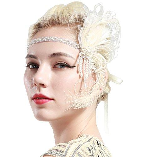 BABEYOND 1920s Stirnband Damen Gatsby Kostüm Accessoires 20er Jahre Flapper Feder Haarband Weiß