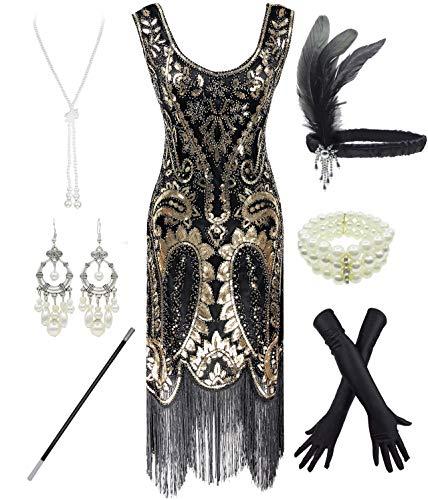 FUNDAISY 1920er Jahre Gatsby Pailletten gefüttert Paisley Flapper Dress Set mit 20er Jahre Zubehör (Style02-Schwarz &...