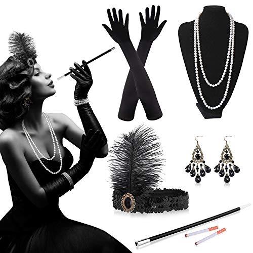 Alintor 20er Jahre Accessoires, 20er Jahre Kleid Accessoires Set, Kostüm Damen Federboa, Charleston Kleid 20er Jahre -...