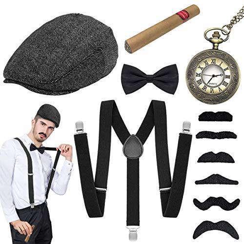 WEARXI 20er Jahre Accessoires Herren - Gatsby Hut Herren Kostüme Hosenträger Herren Mafia Kostüm Set, Gangster Hut,...