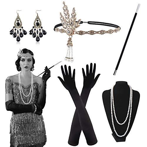 Alintor 20er Jahre Accessoires, 1920s Federboa Kostüm Damen Accessoires, 20er Jahre Kleid Set, Charleston Kleid 20er...