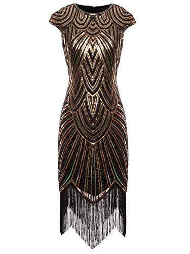 Fairy Couple 1920er-Flapper-Kleid mit Paillettenverzierung und Quastensaum FD20S002 Gr. Small, Ein schwarzes Gold