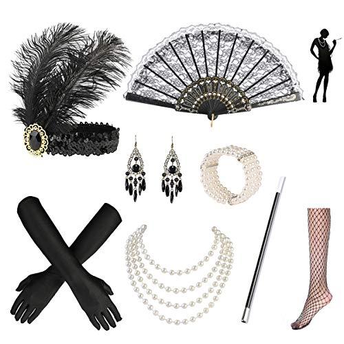 Nabance 20er Jahre Accessoires Gatsby Accessoires 1920s Kostüm Damen Flapper Accessoires Set 20er Jahre Zubehör Set...