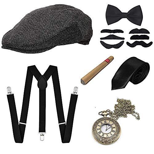 GOLDGE 1920s Herren Accessoires Set Mafia Gatsby Gatsby Kostüm Set mit Panama Gangster Hut Verstellbarem Hosenträger...