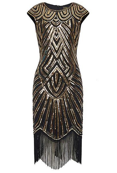 20er Jahre Mode 20er Jahre Kleid Charleston Kleid Flapper Kleid Gatsby Kleid Paillettenkleid Retro Kleid Damen gold schwarz
