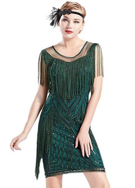 20er Jahre Mode 20er Jahre Kleid Charleston Kleid Flapper Kleid Gatsby Kleid Paillettenkleid Retro Kleid Damen grün