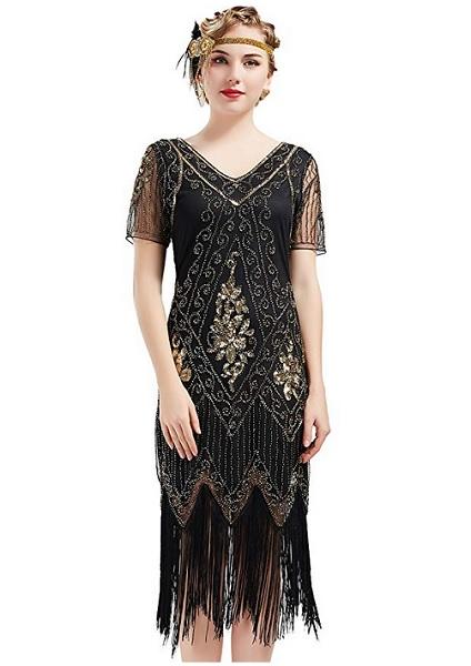20er Jahre Mode 20er Jahre Kleid Charleston Kleid Flapper Kleid Gatsby Kleid Paillettenkleid Retro Kleid Damen schwarz