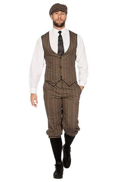 20er Jahre Mode Herren Peaky Blinders Anzug Knickerbocker Herren-Kostüm Braun-Beige Weste Schiebermütze